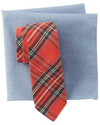 Original Penguin Holiday Plaid Tie & Pocket Square Set