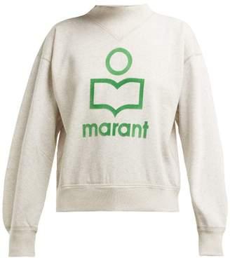 Etoile Isabel Marant Moby Flocked Logo Cotton Blend Sweatshirt - Womens - Ivory