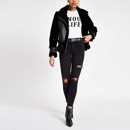 Womens Black wash ripped mid rise Molly jeggings