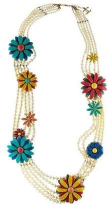 Chanel Faux Pearl & Enamel Flower Multistrand Necklace