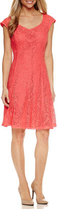 LIZ CLAIBORNE Liz Claiborne Short Sleeve Lace Fit & Flare Dress $72 thestylecure.com