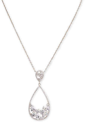 "Nina Silver-Tone Crystal Open Teardrop Pendant Necklace, 17"" + 3"" extender"