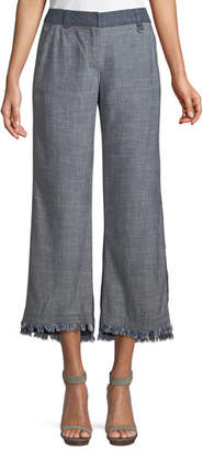 Trina Turk Ontario Frayed Pants in Crosshatch Chambray