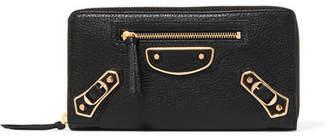Balenciaga Metallic Edge Textured-leather Continental Wallet - Black