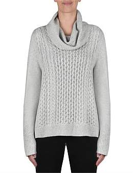 Jump Cowl Neck Cable Detail Pull Over