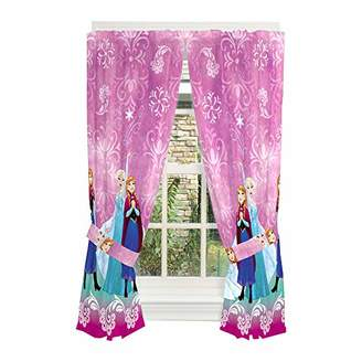 Disney Frozen Kids Room Window Curtain Panels with Tie Backs