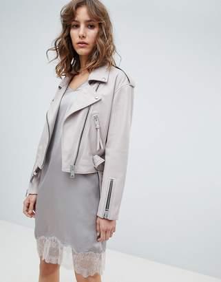 AllSaints pink leather jacket