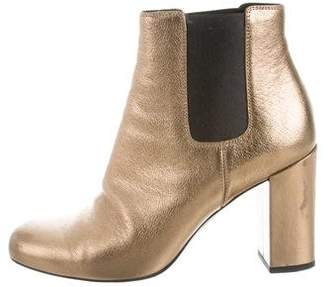 Saint Laurent Metallic Square-Toe Boots