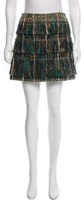 Maiyet Fringe-Trimmed Tweed Skirt
