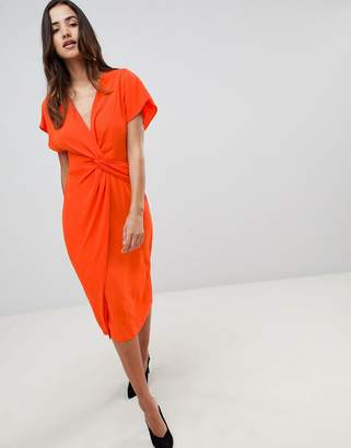 Asos DESIGN Twist Midi Dress With Kimono Sleeve