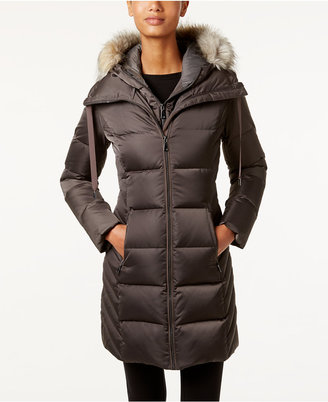 T Tahari Faux-Fur-Trim Hooded Puffer Coat $400 thestylecure.com