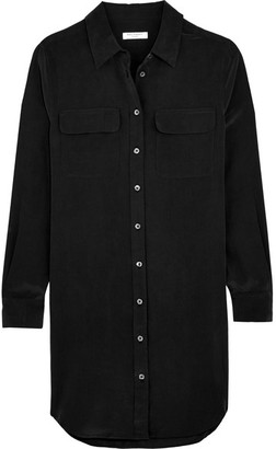 Equipment - Slim Signature Washed-silk Mini Shirt Dress - Black $280 thestylecure.com