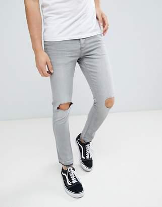 Brave Soul Skinny Gray Frayed Hem Ripped Jeans