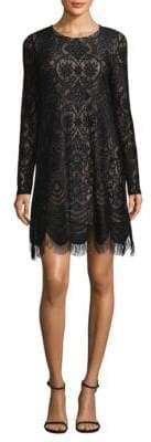 BCBGMAXAZRIA Long-Sleeve Lace Shift Dress