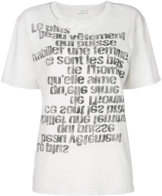 Saint Laurent mirrored slogan print T-shirt