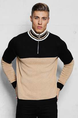 boohoo Half Zip Funnel Neck Colour Block Knitted Jumper