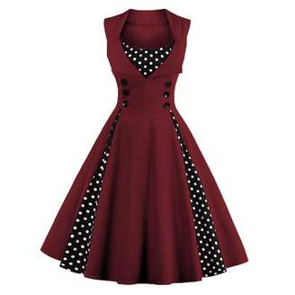 FTVOGUE Women Retro 1950s A Line High Waist Sleeveless Print Swing Dress(XXL)