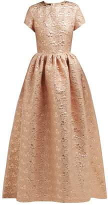 Rochas Gathered Floral Brocade Gown - Womens - Pink