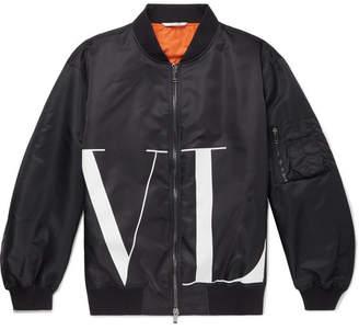 Valentino Oversized Logo-Print Shell Bomber Jacket