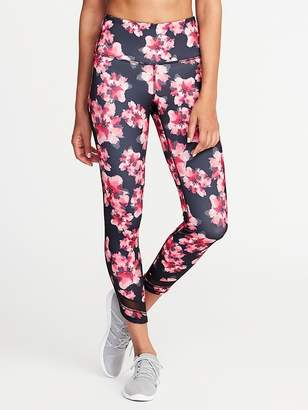 Old Navy High-Rise 7/8-Length Floral-Print Mesh-Trim Compression Leggings for Women