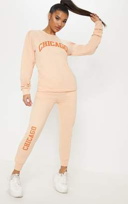 PrettyLittleThing Cream Chicago Joggers