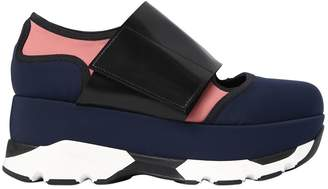 Marni 80mm Neoprene & Leather Wedge Sneakers