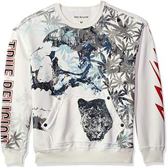 True Religion Men's Sublimation Panther Print Graphic Crew Neck Pullover