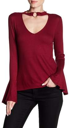 Dee Elly Choker Ribbed Knit Top