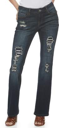Almost Famous Juniors' Destructed Rip & Repair Mid-Rise Bootcut Jeans