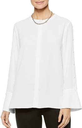 Misook Crepe de Chine Button-Sleeve Blouse
