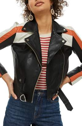 Topshop Ezra Motorcross Leather Biker Jacket