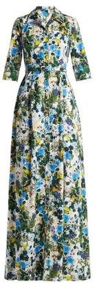 Erdem Karissa Floral Print Cotton Poplin Shirtdress - Womens - Blue Print