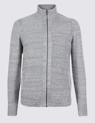 Marks and Spencer Pure Cotton Textured Zip Through Cardigan