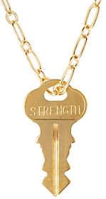 "The Giving Keys Goldtone 'STRENGTH' Pendant 30""Dainty Chain"