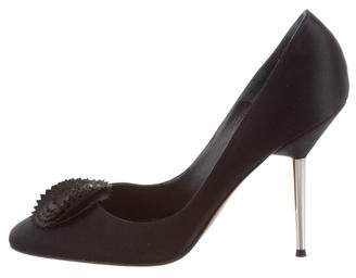 Lanvin Square-Toe Satin Pumps