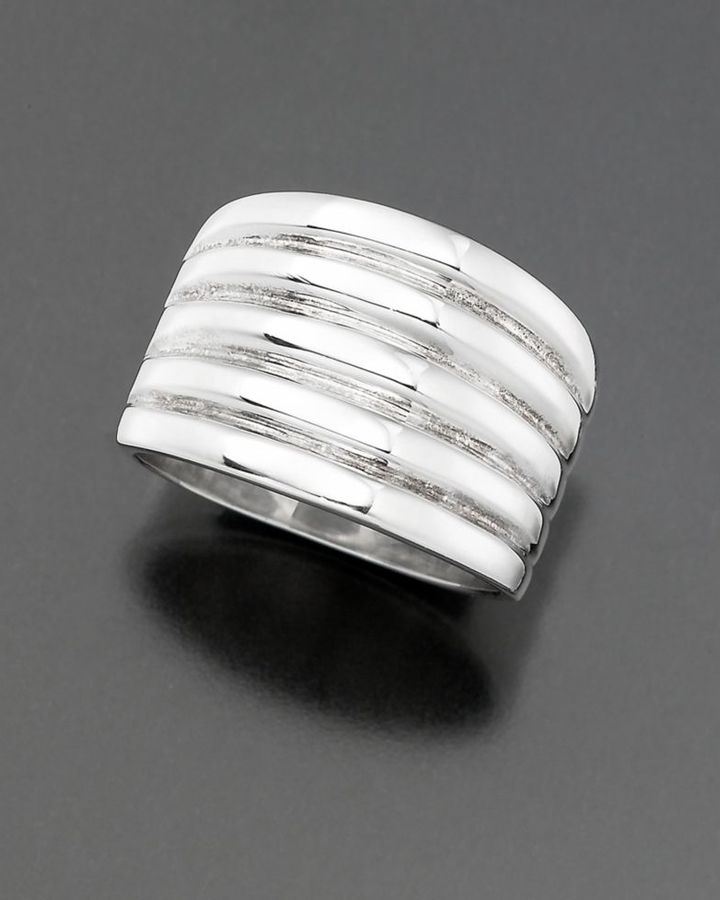 Sterling Silver Wide Ribbed Band Ring