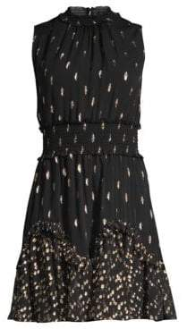 Rebecca Taylor Metallic Polka Dot Sleeveless Smocked Waist A-Line Dress