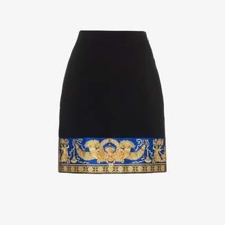Versace lovers print silk mini skirt