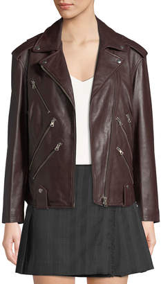 McQ Zippers Leather Biker Jacket