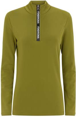 Fendi Roma Zip-Neck Top
