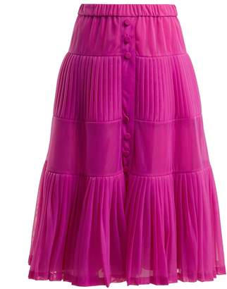 No.21 NO. 21 Elasticated-waist pleated organza skirt