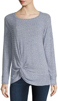 A.N.A Womens Round Neck Long Sleeve Knit Blouse