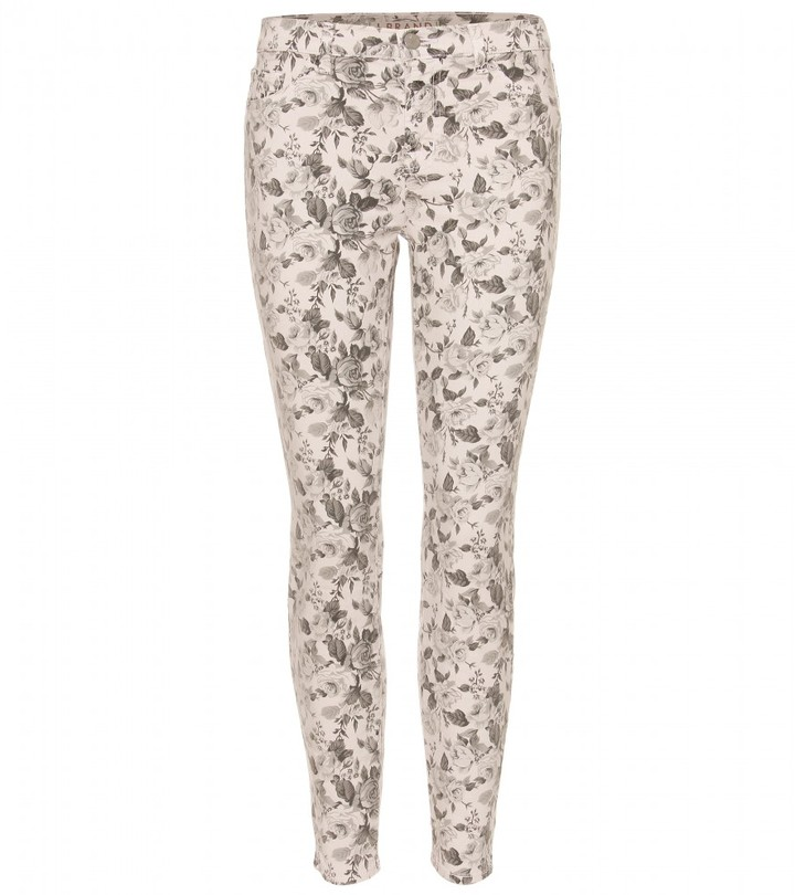 J Brand 835 FLORAL PRINTED MID RISE CROPPED JEANS
