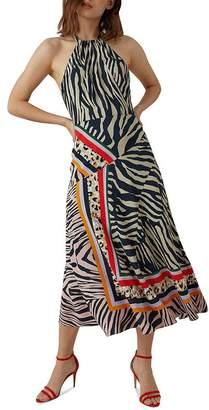 Karen Millen Zebra Scarf-Print Midi Dress