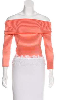 Valentino Lace-Trimmed Striped Top