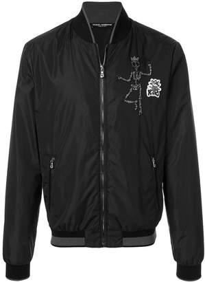 Dolce & Gabbana skull patch bomber jacket
