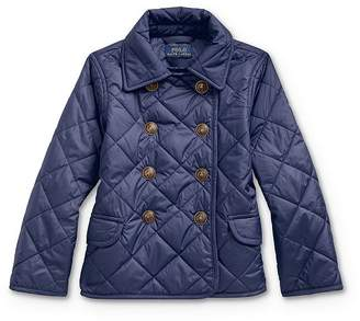 Ralph Lauren Girls' Quilted Double-Breasted Jacket - Little Kid