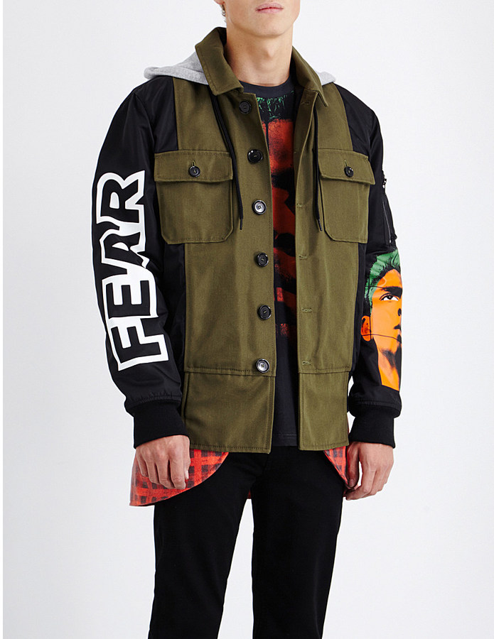 MOSCHINO Hooded shell and twill jacket