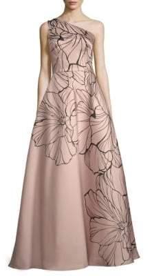 Carmen Marc Valvo Embellished Floral-Print Ball Gown