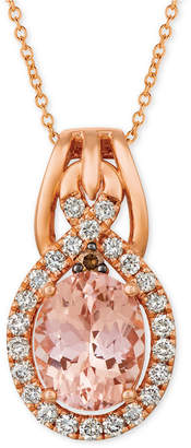 "LeVian Le Vian Morganite (1-3/4 ct. t.w.) & Diamond (3/8 ct. t.w.) 18"" Pendant Necklace in 14k Rose Gold"